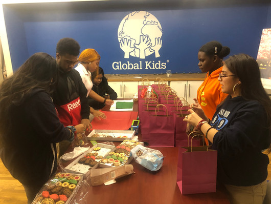 Students preparing gift bags