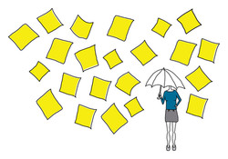 'Raining post-it notes' illustration