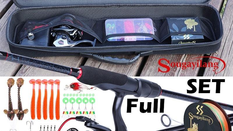 Sougayilang Portable Fishing Rod Set Carbon Fishing Rod and 13+1BB Spinning Real