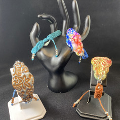 Polymer Clay and Macrame Cuff Bracelet