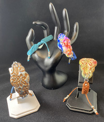 Polymer Clay and Macramé Cuff Bracelet
