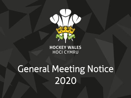 2020 General Meeting Notice / Hysbysiad Cyfarfod Cyffredinol 2020