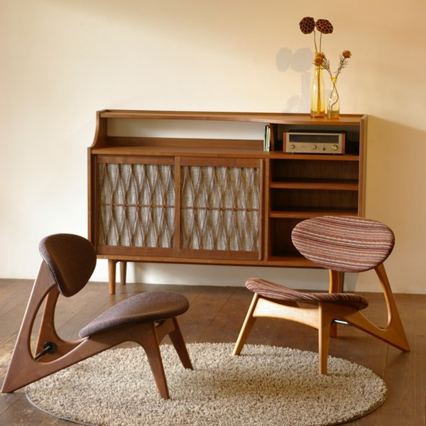 LOW CHAIRS & AUDIO CABINET / wedge