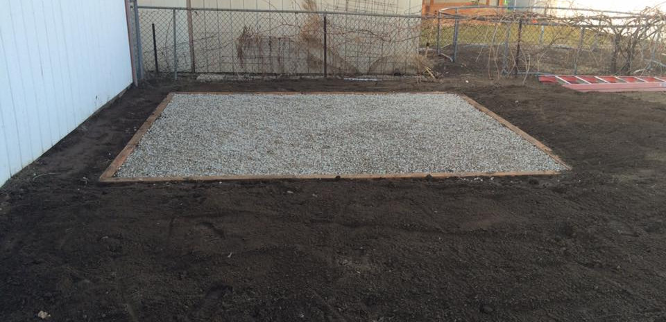 SHED PAD WITH 4X4 TIMBERS