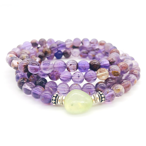 Super Seven, Prehnite, + Sterling Silver Multi-wrap Bracelet