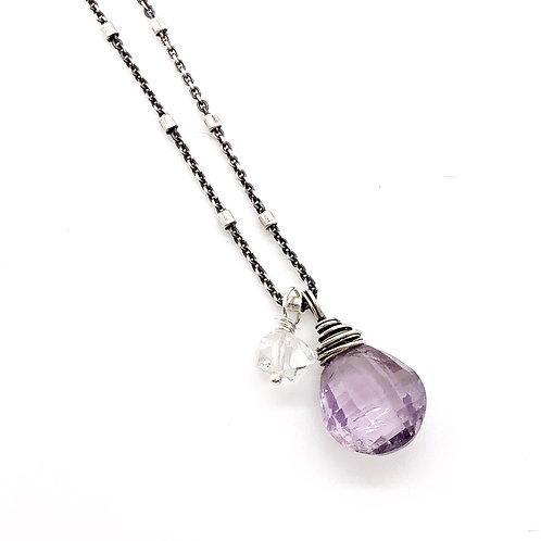Amethyst, Herkimer Diamond, + Sterling Silver Necklace