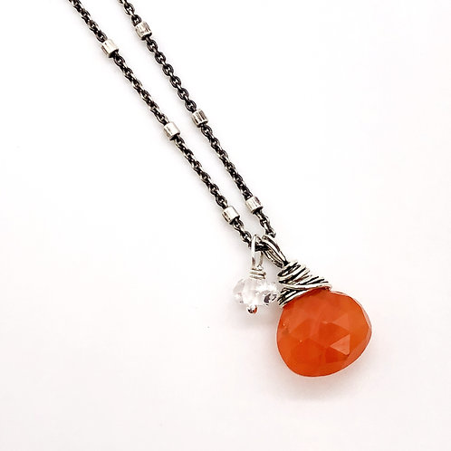 Carnelian, Herkimer Diamond, + Sterling Silver Necklace