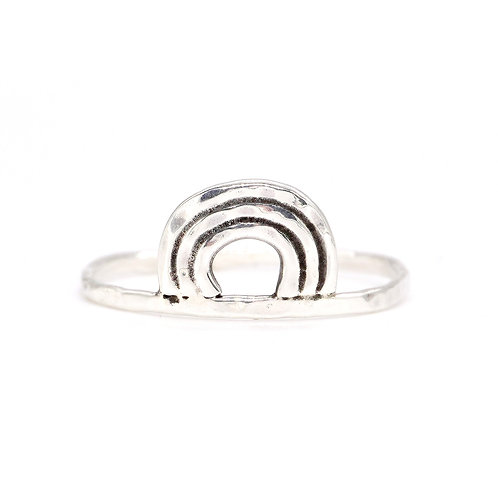 Abstract Sterling Silver Hammered Rainbow Ring