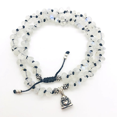 Rainbow Moonstone Hand-knotted Bracelet + Sterling Silver Buddha Charm