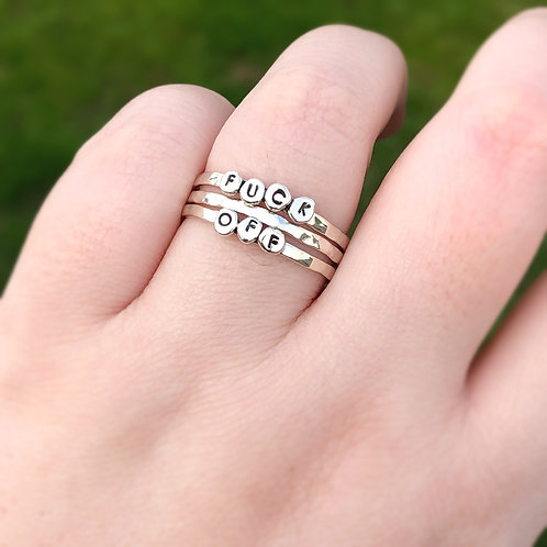 PEBBLES TRIO   Handstamped Sterling Silver Stacker Ring Set   MADE-TO-ORDER