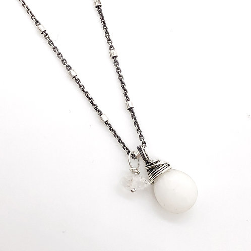 White Chalcedony, Herkimer Diamond, + Sterling Silver Necklace