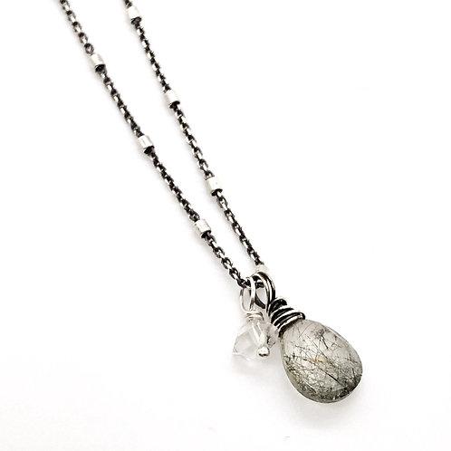 Tourmaline Quartz, Herkimer Diamond, + Sterling Silver Necklace