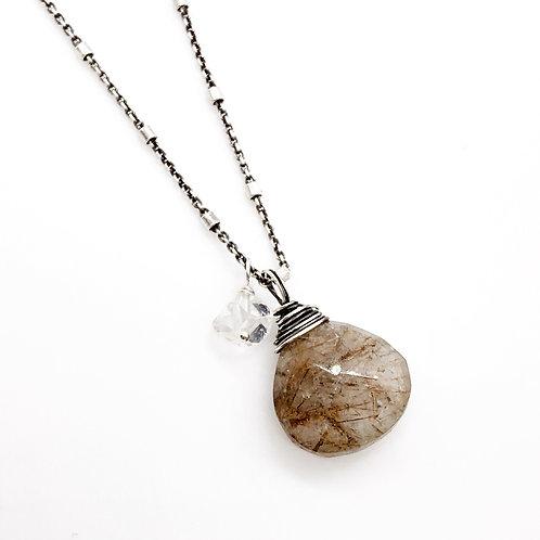 Golden Rutile Quartz, Herkimer Diamond, + Sterling Silver Necklace
