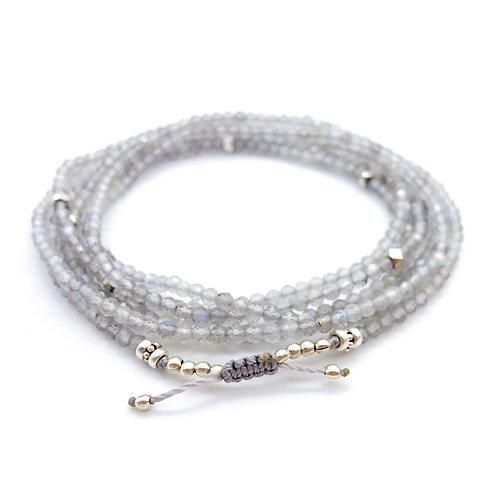 Labradorite + Sterling Silver Multi-wrap Bracelet