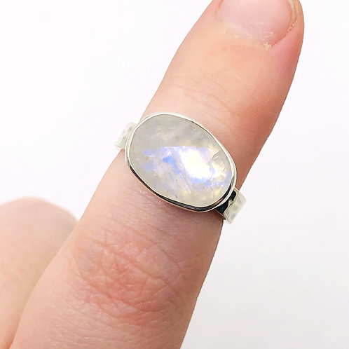 BOREALIS | Rainbow Moonstone + Sterling Silver Ring | MADE-TO-ORDER