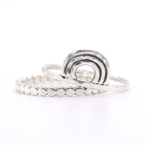 Abstract Sterling Silver Hammered Rainbow Ring Stacker Set