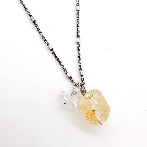 Citrine, Herkimer Diamond, + Sterling Silver Necklace
