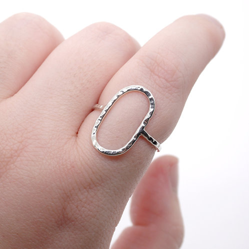 Abstract Sterling Silver Hammered Oval Ring
