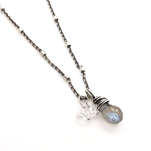Labradorite, Herkimer Diamond, + Sterling Silver Necklace
