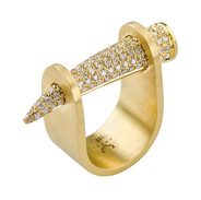 18k Yellow spike with diamonds
