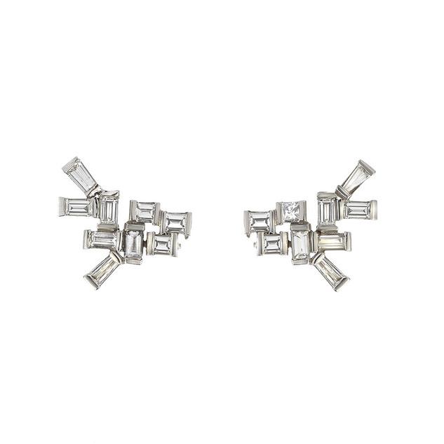 Diamond baguette earrings, 3 cts