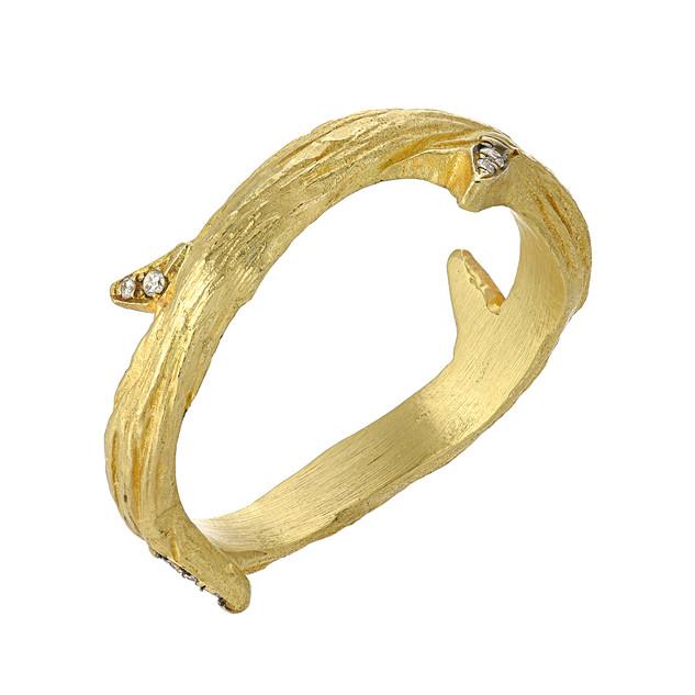 Vine ring with diamond thorns