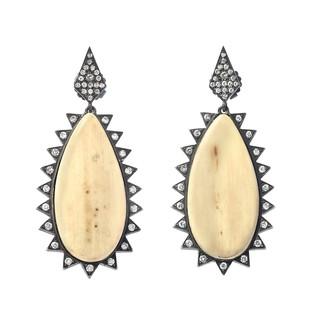 Mammoth and diamond earrings