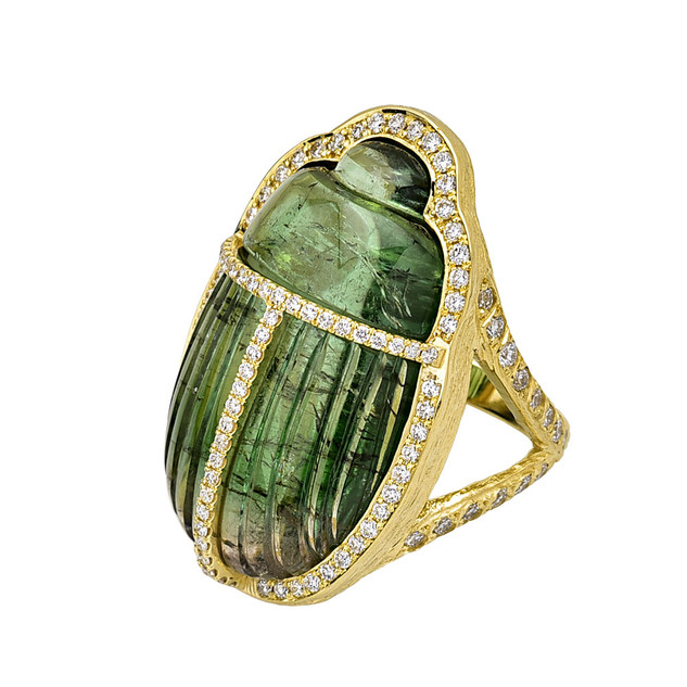 Tourmaline Scarab Ring