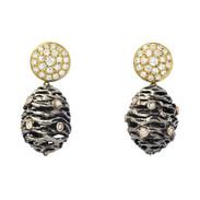 Pine cone drops, silver, gold and diamonds