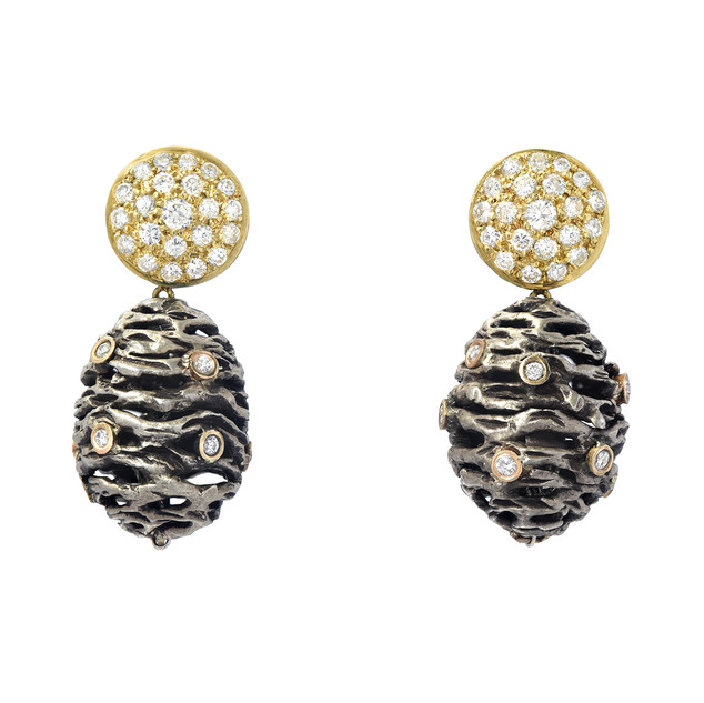 Pine cone drops, silver, gold and diamonds