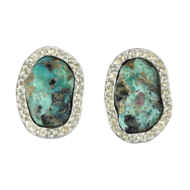 Turquoise large studs with diamond surrounds