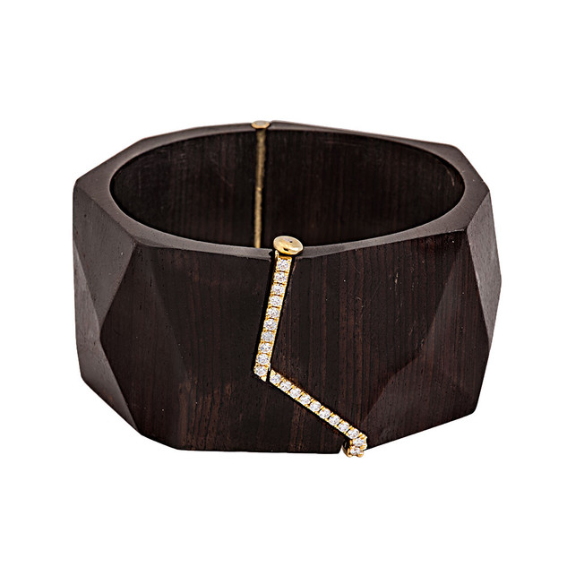 Ebony and diamond bangle