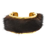 Recycled mink and diamond cuff