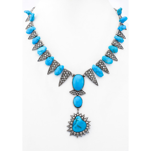 Sundance neckalce with Sleeping Beauty turquoise, silver and diamonds