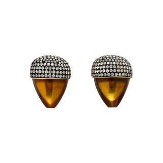 Clear Amber, 18k and diamond acorns