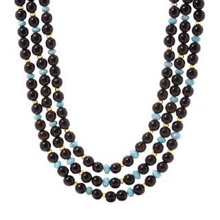 Triple strand Ebony and Blue