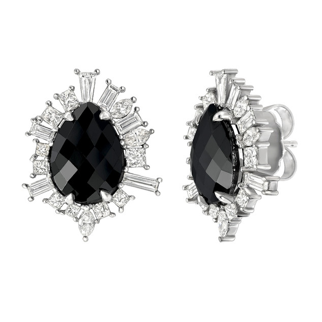 Funky studs with over 10 carats of black and white diamonds