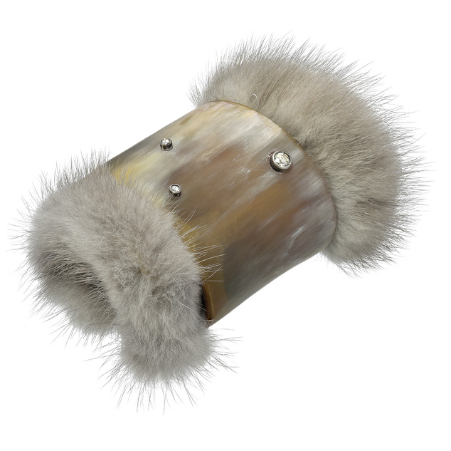 Recycled fur, horn and diamond cuff