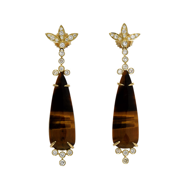Tiger's eye earring, 18k and diamonds
