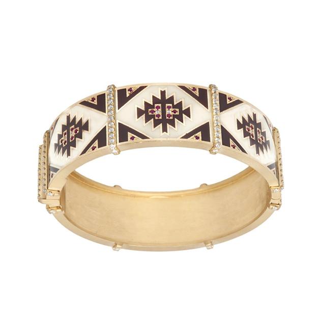Navajo carpet bangle of 18k, enamel, diamonds and rubies