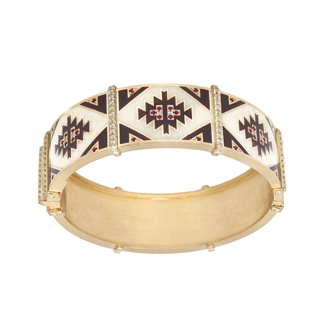Navajo carpet bangle of 18k, enamel, diamonds and rubies