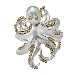 Silver, gold, diamond and South Sea pearl Octous cuff