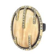 Fossil wood and diamond Cage ring