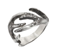 Silver antler ring with diamonds