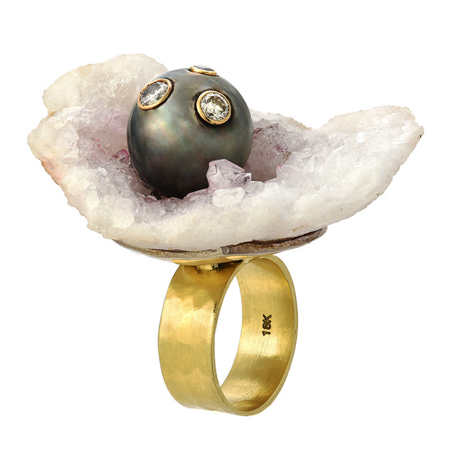 Ocean ring with pearl, druzy and diamonds