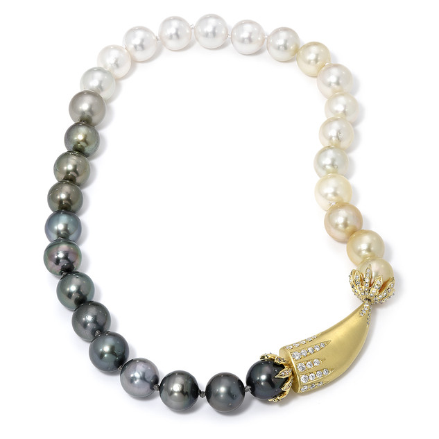 Ombre pearl and tusk necklace