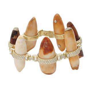 Fossil and diamond bracelet