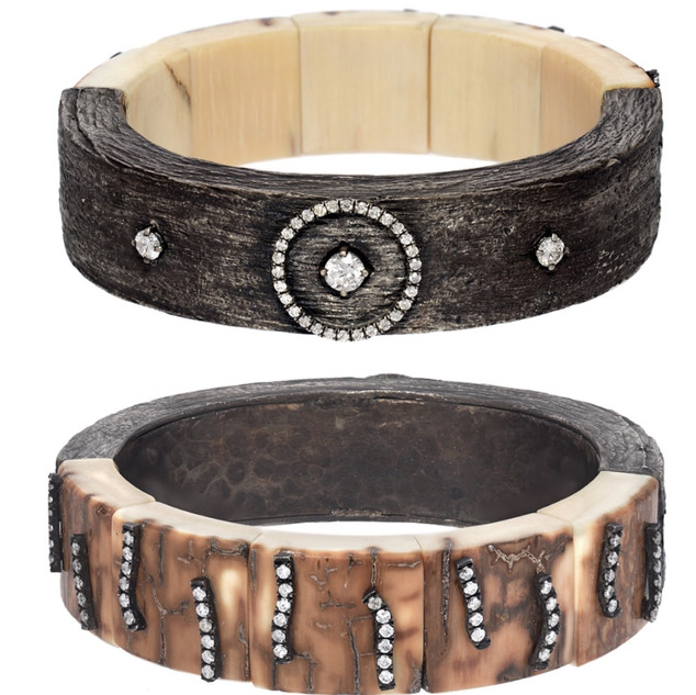 Two sided bracelet of Mammoth and diamonds