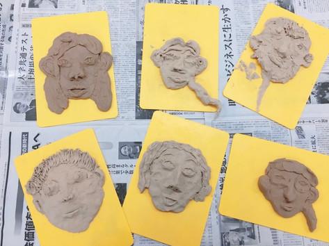 アートコンテンツ粘土で顔を作ってみよう