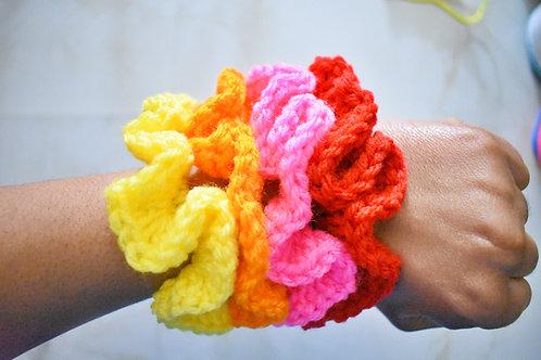Crochet  Acrylic Scrunchies 4pk